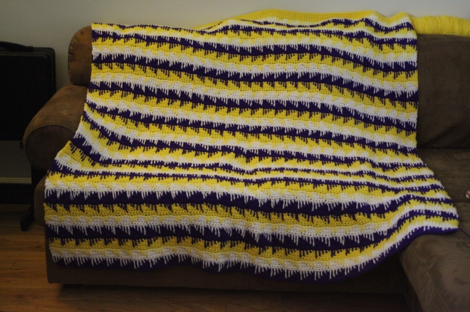 Purple and Gold Crochet Blanket